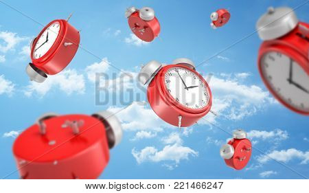 3d rendering of a many red round retro alarm clocks falling down on the background of a blue sky with white clouds. Early morning. Business schedule. No time to waste.
