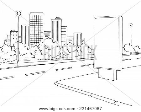 Street road graphic black white billboard city landscape sketch illustration vector