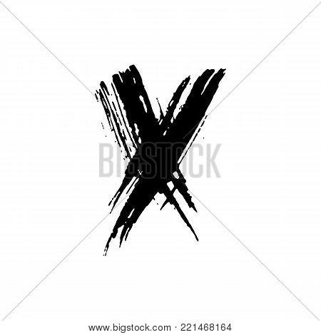 Letter X. Handwritten by dry brush. Rough strokes font. Vector illustration. Grunge style elegant alphabet