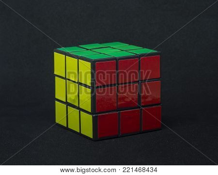 ISTANBUL- TURKEY Rubik's cube on the white background. Rubik's Cube on a white background. Rubik's Cube invented by a Hungarian architect Erno Rubik