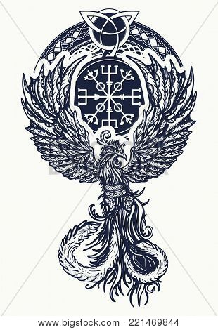 Magic heat birds tattoo and t-shirt celtic design. Symbol of revival, regeneration, life and death. Phoenix bird tattoo celtic style