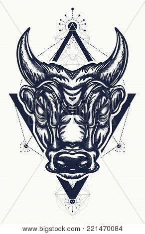 Bull tattoo and t-shirt design. Ancient Rome and ancient Greece concept war t-shirt design. Minotaur, symbol of bravery, fight, hero, army. Bull tattoo art