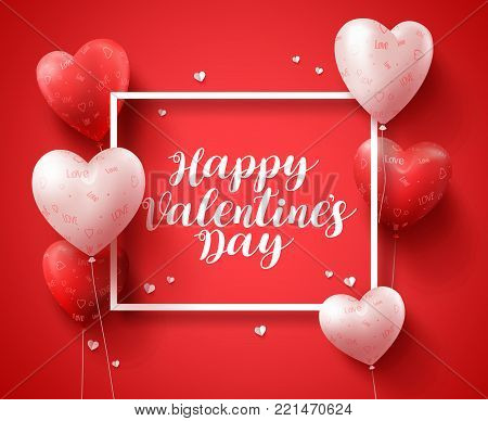 Happy valentines day banner design typography text with red heart shape balloons and elements in a boarder for valentines day greeting card. Vector illustration.