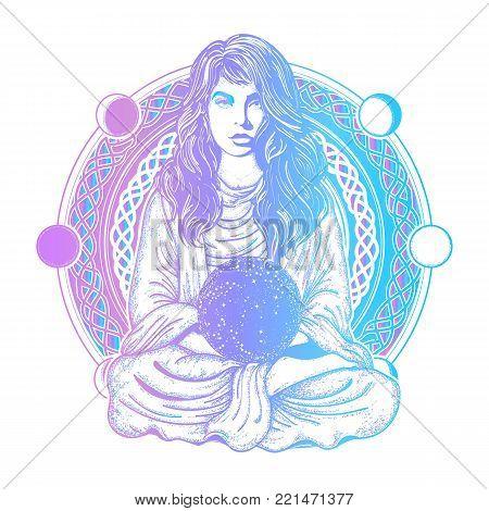 Magic woman color tattoo and t-shirt design. Woman meditation tattoo art. Girl in lotus pose. Symbol meditation, philosophy, astrology, magic, yoga. Meditating woman and crystal sphere t-shirt design