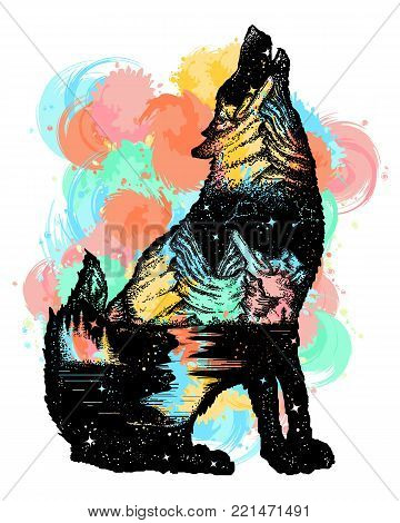 Wolf double exposure color tattoo art. Wolf howls, mountain and night sky t-shirt design. Symbol tourism, travel, adventure, outdoor