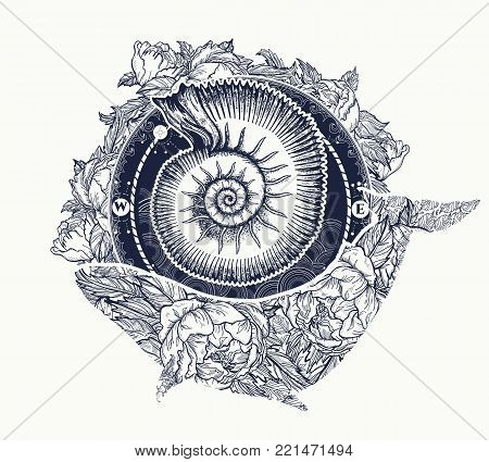 Whale and sea shell tattoo and t-shirt design. Ancient shell and floral whale tattoo art. Mystical symbol of adventure, dreams. Ammonite and Whale. Travel, adventure, outdoors symbol