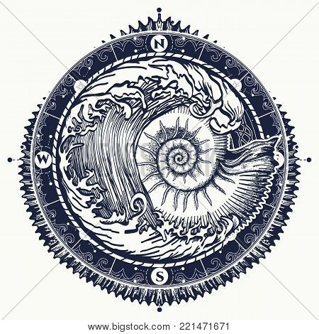 Big wave and sea shell tattoo and t-shirt design. Symbol of adventures boho style. Great outdoors. Tsunami waves tattoo. Sea ammonite and storm