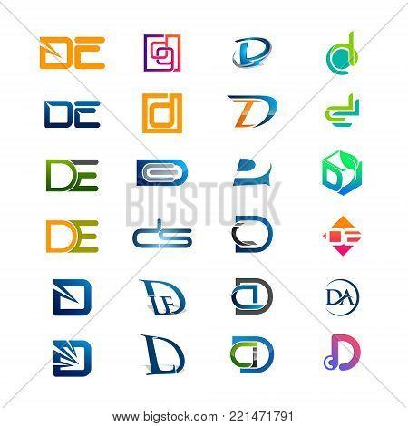 D DE DQ CD DA DD letter Initial alphabet Logo design Template element