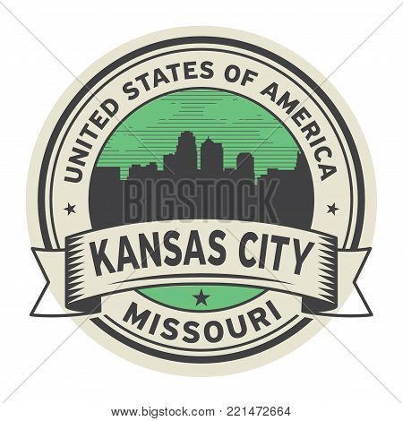 Stamp or label with name of Kansas City, Missouri, USA, vector illustration