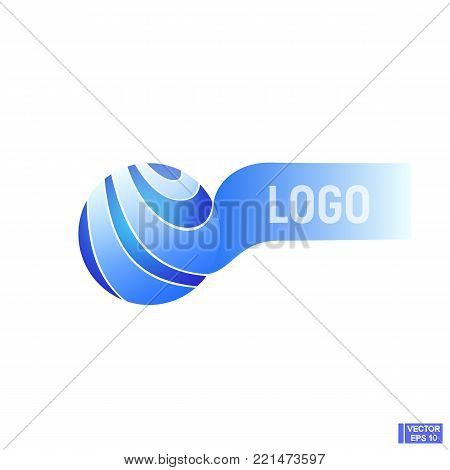 Vector image. Blue sphere with lines and stripes. Abstract sphere, logo.