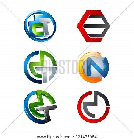 Various cirlce 3D CMT CN CM letter Initial alphabet Logo design Template element