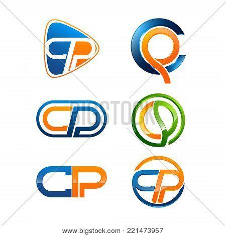 Various CP letter Initial alphabet Logo design Template element
