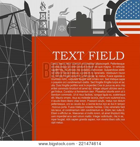 Energy and Power icons set. Sustainable energy generation and heavy industry. Field for text. Modern brochure, report or leaflet design template. Flag of USA in gear