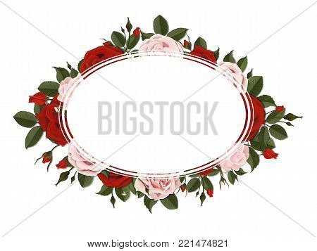 Oval greeting card on red and pink blooming rose flowers. Floral wreath.