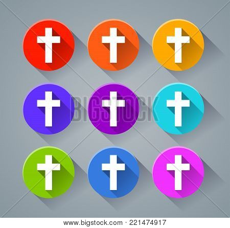 Illustration of jesus cross icons with various colors