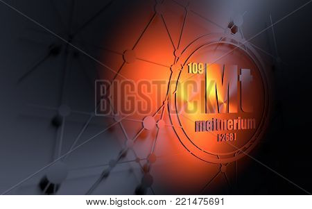 Meitnerium chemical element. Sign with atomic number and atomic weight. Chemical element of periodic table. Molecule and communication background. Connected lines with dots. 3D rendering