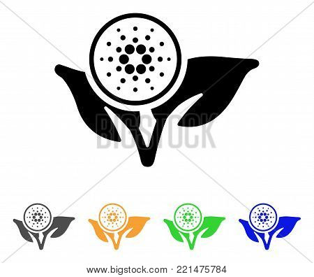 Cardano Eco Startup icon. Vector illustration style is a flat iconic cardano eco startup black symbol with grey, yellow, green, blue color versions. Designed for web and software interfaces.