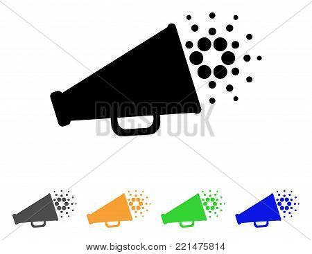 Cardano Megaphone icon. Vector illustration style is a flat iconic cardano megaphone black symbol with gray, yellow, green, blue color versions. Designed for web and software interfaces.