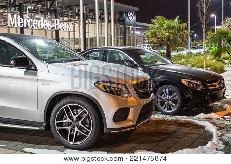 Vancouver Bc, Canada - January 9, 2018: Office Of Official Dealer Mercedes-benz. Mercedes-benz Is A