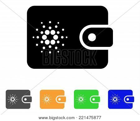 Cardano Wallet icon. Vector illustration style is a flat iconic cardano wallet black symbol with grey, yellow, green, blue color variants. Designed for web and software interfaces.