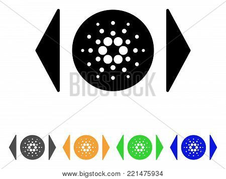 Regulate Cardano icon. Vector illustration style is a flat iconic regulate cardano black symbol with gray, yellow, green, blue color versions. Designed for web and software interfaces.