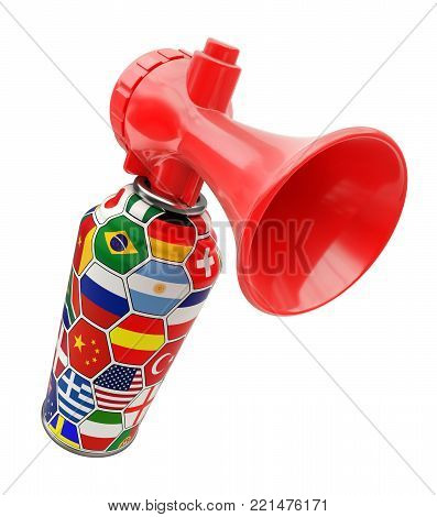 Fan sport air horn can with world flags isolated on white background - 3D illustration
