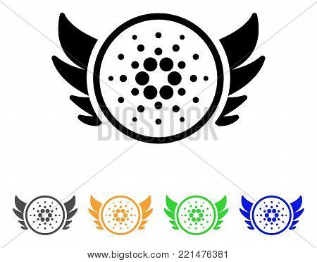 Cardano Angel Investment icon. Vector illustration style is a flat iconic cardano angel investment black symbol with gray, yellow, green, blue color variants. Designed for web and software interfaces.