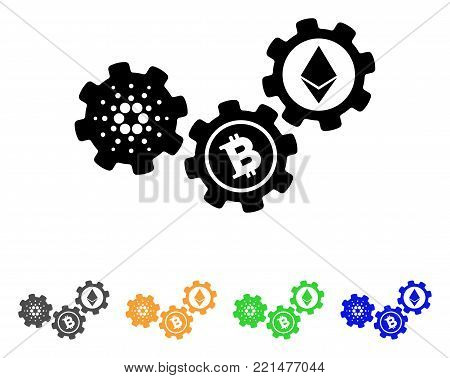 Cardano Cryptocurrency Mechanism icon. Vector illustration style is a flat iconic cardano cryptocurrency mechanism black symbol with gray, yellow, green, blue color variants.