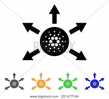 Cardano Distribution Arrows icon. Vector illustration style is a flat iconic cardano distribution arrows black symbol with gray, yellow, green, blue color versions.