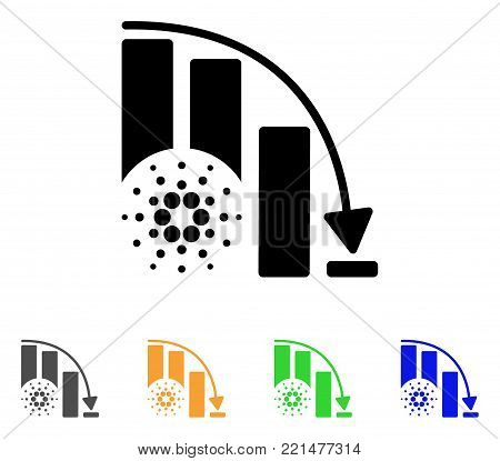 Cardano Epic Fail Chart icon. Vector illustration style is a flat iconic cardano epic fail chart black symbol with gray, yellow, green, blue color variants. Designed for web and software interfaces.