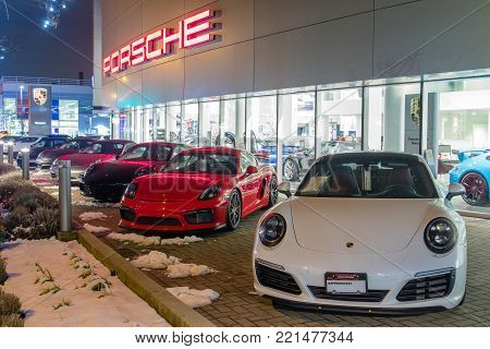 Vancouver Bc, Canada - January 9, 2018: Porsche Is A German Automobile Manufacturer Specializing In