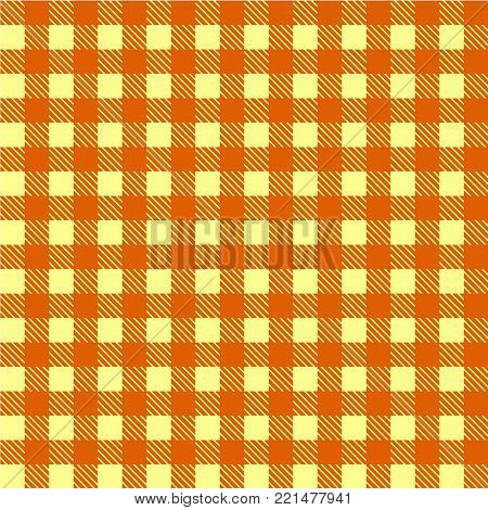 Yellow and white seamless tablecloth Vector.   Seamless traditional tablecloth pattern Vector.  Geometrical simple square pattern.