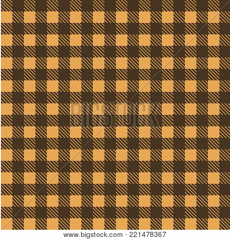 Yellow and brown seamless tablecloth Vector.   Seamless traditional tablecloth pattern Vector.   Geometrical simple square pattern.