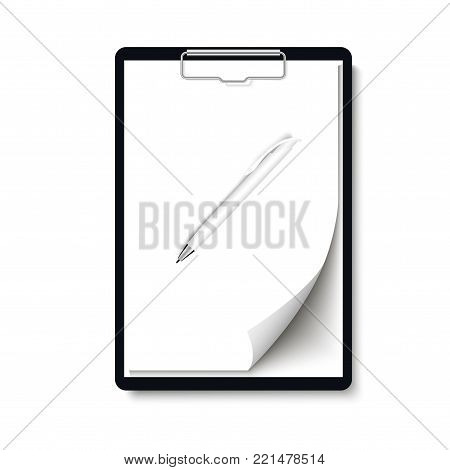 Realistic clipboard folder with blank white sheet of paper with curled corner  and pen mock up. Vector