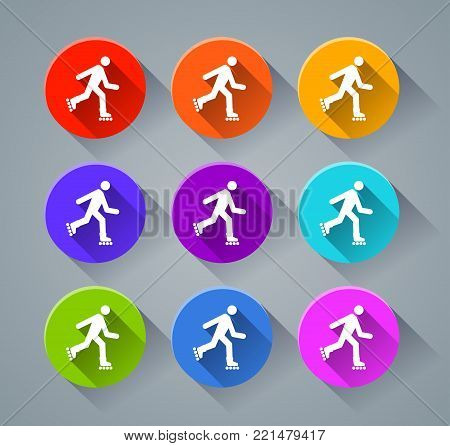 Illustration of rollerskate icons with various colors
