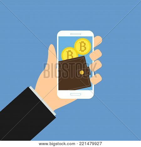 Wallet app page with bitcoins on smartphone screen. Hand hold smartphone. Mobile wallet account. Modern concept for web banner, web site, infographic. Creative flat design illustration