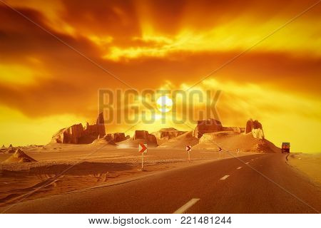 Road in the desert. Iran. Persia. Kerman.