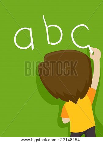 Vector Illustration of a Kid Boy writing ABC on the Blackboard