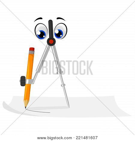 Vector Illustration of Compass Mascot with Pencil