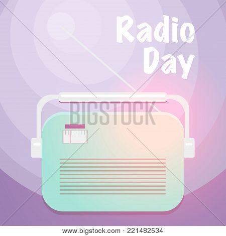 World Radio Day. Vector retro style illustration.