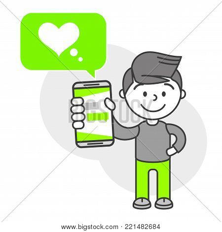 Simple flat stylistics adaptation to corporate style. Icon message man shows mobile phone message positive love heart