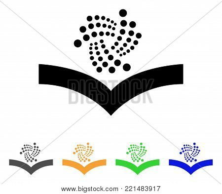 Iota Knowledge icon. Vector illustration style is a flat iconic iota knowledge black symbol with grey, yellow, green, blue color versions. Designed for web and software interfaces.