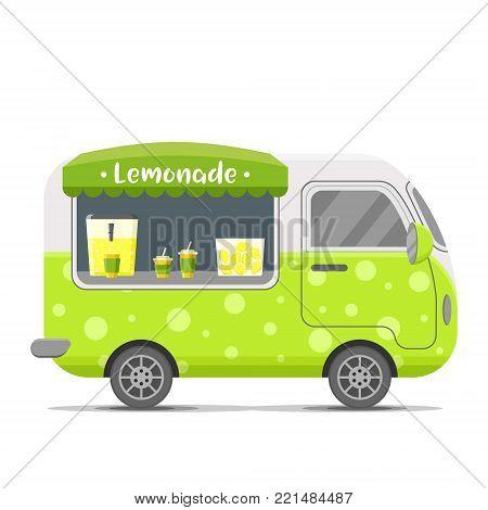 Fresh cold lemonade street food caravan trailer. Colorful vector illustration, cartoon style, isolated on white background
