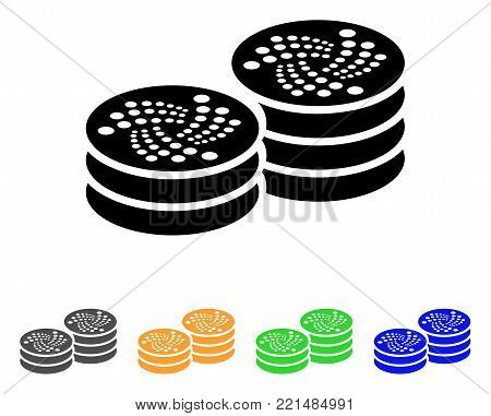 Iota Coin Columns icon. Vector illustration style is a flat iconic iota coin columns black symbol with grey, yellow, green, blue color variants. Designed for web and software interfaces.