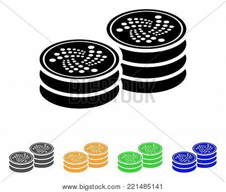 Iota Coin Stacks icon. Vector illustration style is a flat iconic iota coin stacks black symbol with gray, yellow, green, blue color variants. Designed for web and software interfaces.