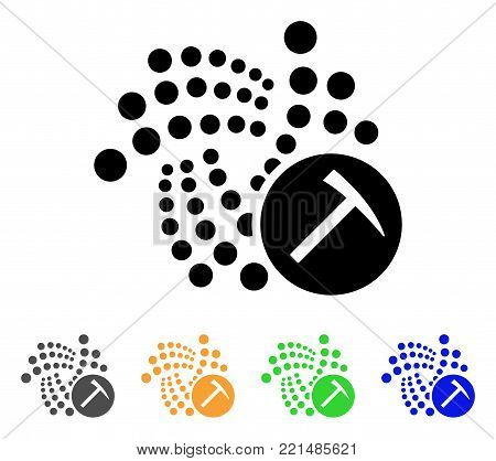 Iota Mining Hammer icon. Vector illustration style is a flat iconic iota mining hammer black symbol with grey, yellow, green, blue color variants. Designed for web and software interfaces.