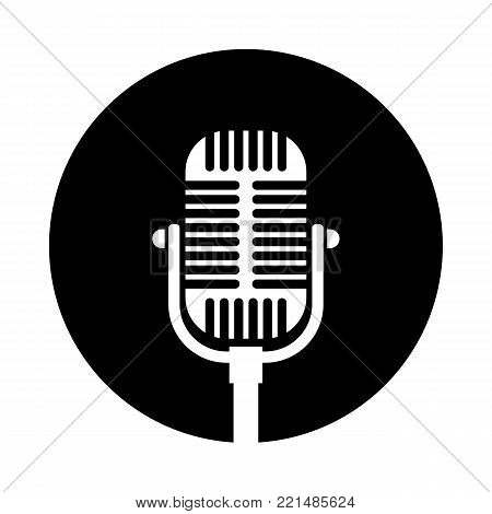 Old microphone circle icon. Black, round, minimalist icon isolated on white background. Microphone simple silhouette. Web site page and mobile app design vector element.