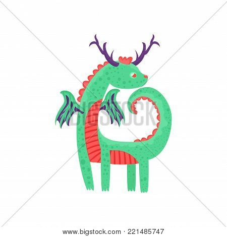 Cute horned baby dragon character, mythical animal, fantasy reptile vector Illustration on a white background