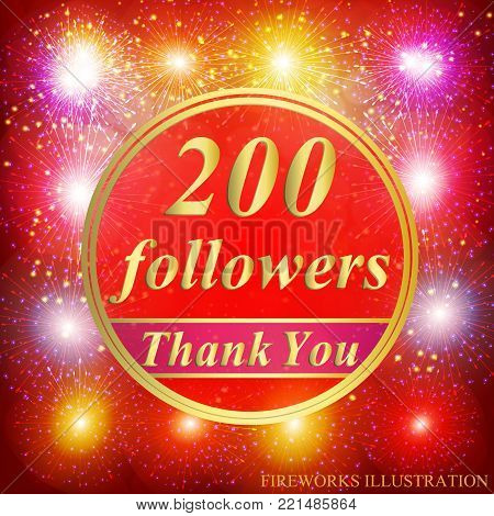 Bright followers background. 200 followers illustration with thank you on a ribbon. Vector illustration.
