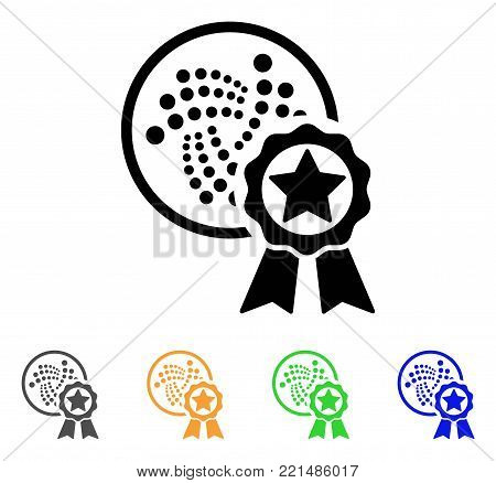 Iota Star Reward icon. Vector illustration style is a flat iconic iota star reward black symbol with grey, yellow, green, blue color versions. Designed for web and software interfaces.